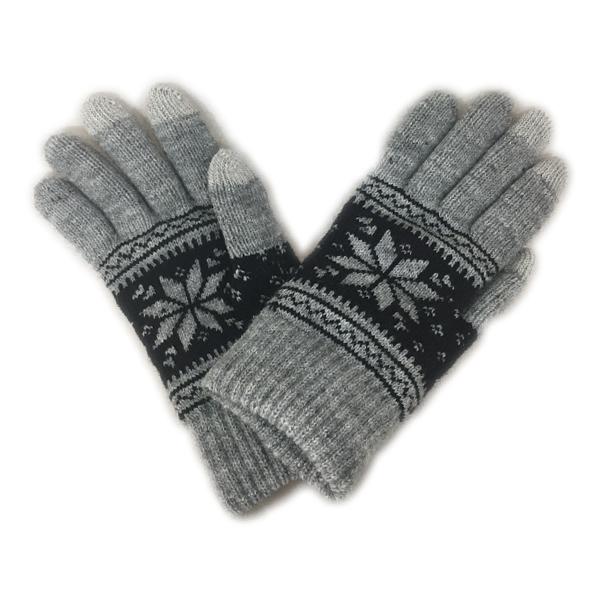 雪花針織觸控保暖雙層手套